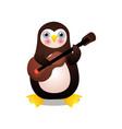 cute arctic penguin man play at old guitar vector image vector image