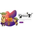 dad with son making halloween pumpkin poster vector image