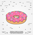 Donut thin line icon Donut isolated dark grey For vector image