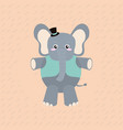 elephant with elegant clothes cartoon vector image