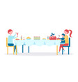 family celebrates christmas with great dinner vector image
