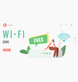 free wi-fi zone landing page template tiny female vector image