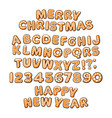 gingerbread cookies alphabet merry christmas and vector image vector image