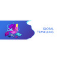 global travelling isometric 3d banner header vector image vector image
