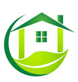 green house with leaf business logo vector image