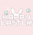 Happy easter furry inscription with butterfly vector image vector image