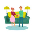 happy family young couple with plant and sofa vector image vector image