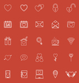 Love line icons on red background vector image vector image