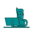 man using computer icon image vector image vector image