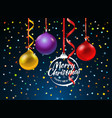 merry christmas greeting card with color baubles vector image vector image