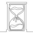 one line drawing of isolated hourglass vector image
