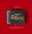 opened black cardboard package mock up box gift vector image vector image