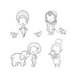 people with pets cute cartoon women with dogs vector image vector image