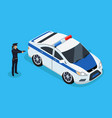 police officer and car icons vector image vector image