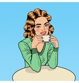 Pop Art Beautiful Woman Drinking Coffee in Cafe vector image