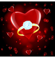 red hearts ring vector image