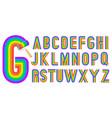 retro style rainbow alphabet vector image