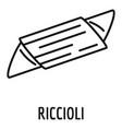 riccioli pasta icon outline style vector image vector image