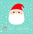 santa claus face head round icon merry christmas vector image vector image