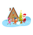 santa claus happy new year and merry christmas vector image vector image