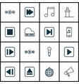 set of 16 music icons includes stop button vector image vector image