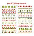 set of bright christmas borders with ornaments vector image