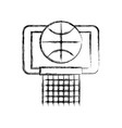 sketch draw basket ball in the hoop cartoon vector image vector image