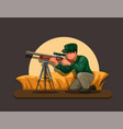 sniper hiding in bushes shooting target character vector image vector image