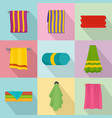 towel hanging spa bath icons set flat style vector image