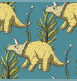 triceratops dinosaur seamless pattern vector image