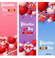 valentine day sale banners set vector image
