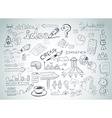 Social Media doodles Sketch set with infographics vector image