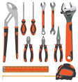 Object tool Pliers with Wrench and Screwdriver on vector image