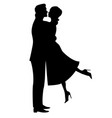 silhouette of a couple in love vector image
