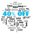 a 40 percent sale text cloud vector image