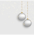 beautiful christmas balls on snowy background vector image vector image