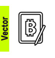 black line mining bitcoin from graphic tablet icon vector image vector image
