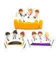 boys jumping on trampoline happy bouncing kids vector image vector image