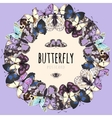 Butterflies set space for text on pink background vector image vector image