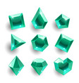 cartoon green emerald different shapes crystals vector image vector image