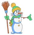 cheerful snowman cartoon vector image