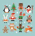 christmas characters santa claus fir-tree vector image