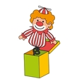 clown suprise box toy icon vector image vector image