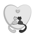 coloring black and white cats and heart vector image vector image