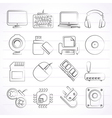 Computer peripherals and accessories icons vector image vector image