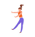 dancing woman dancer in sport clothes female vector image