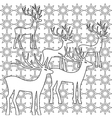 Deer coloring book page set silhouettes vector image vector image