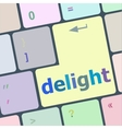 delight button on computer pc keyboard key vector image vector image