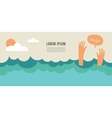 drowning man screaming for help summer danger vector image