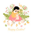easter greeting card cute little girl vector image vector image